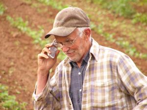 cell phone and old man